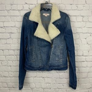 Mossimo Sherpa lined Denim Moto Jacket